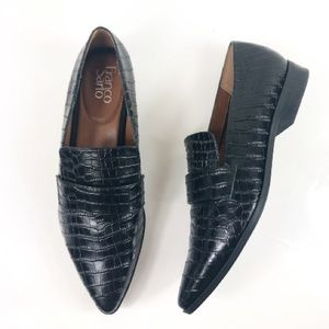 FRANCO SARTO CROC EMBOSSED DRIVING LOAFERS FLATS